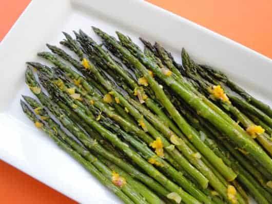 a plate of asparagus