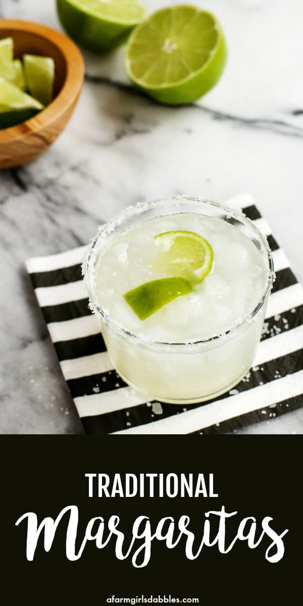 Traditional Margaritas from afarmgirlsdabbles.com - A margarita recipe that's fresh and tart and perfect all year long! #margarita #margaritas #lime #tequila #cincodemayo