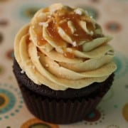 Chocolate cupcake with a swirl of salted caramel buttercream frosting