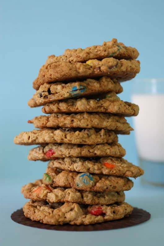 a stack of peanut butter monster cookies