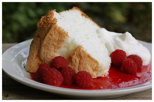 A Slice of Angel Food Cake with Raspberry Sauce on a Plate