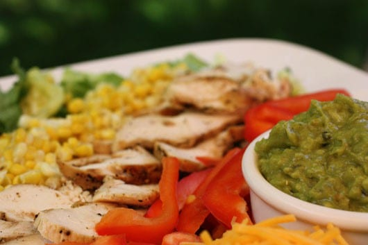 vegetable and grilled chicken with guacamole