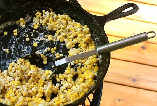 a large spoonful of corn