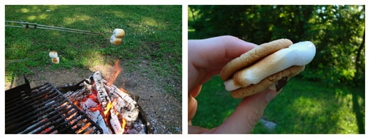 making s'mores on a campfire
