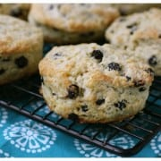 blueberry scones on a cooling rack