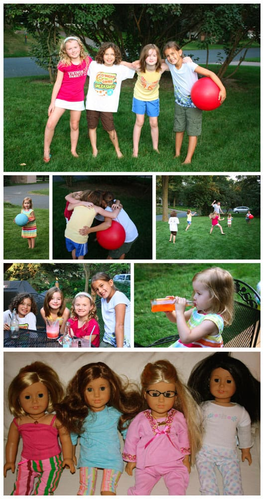 a collage of photos of girls playing outside