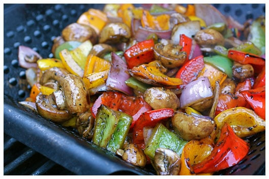balsamic glazed vegetables in a grill pan