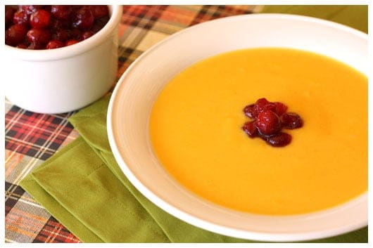 a bowl of squash soup with cranberries
