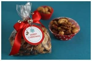spiced nuts in a gift bag