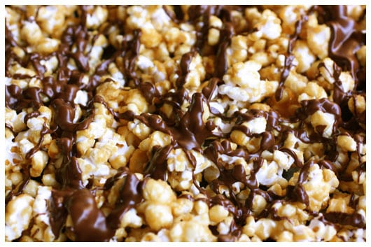 caramel corn drizzled with chocolate