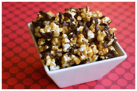 oven-baked caramel corn with chocolate drizzle
