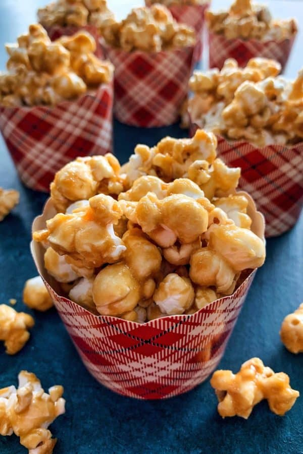 caramel corn in festive paper baking cups, for gifting