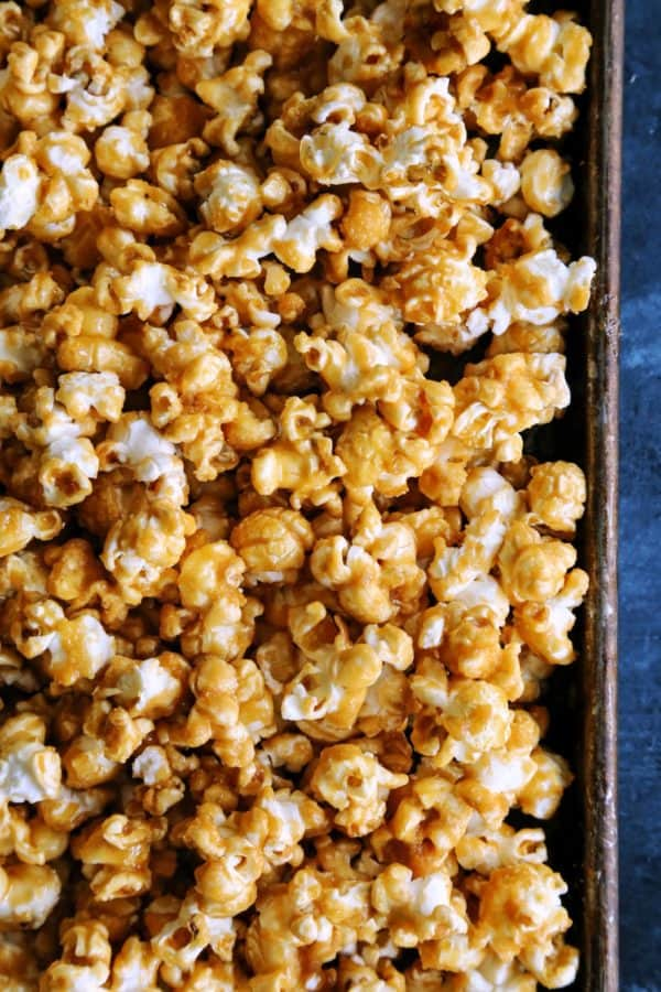 a pan of caramel covered popcorn