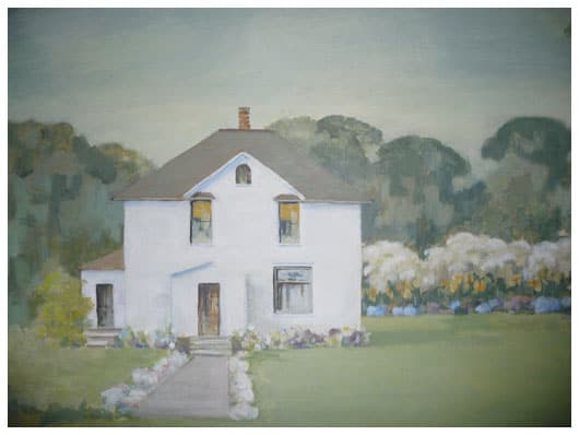 a painting of a white farmhouse