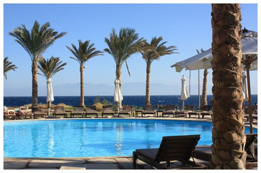 Dahab Paradise resort pool, Red Sea, and Saudi Arabia