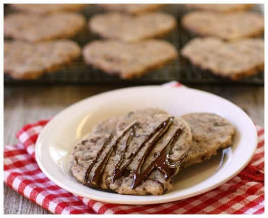 Chocolate Chip Shortbread Cookies from afarmgirlsdabbles.com - shortbread cookies with chocolate #shortbread #cookies #cookie #chocolate #chocolatechip #dessert #valentinesday #salt #seasalt