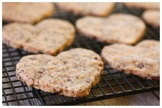 Chocolate Chip Shortbread Cookies from afarmgirlsdabbles.com - shortbread cookies with chocolate on cooling rack #shortbread #cookies #cookie #chocolate #chocolatechip #dessert #valentinesday #salt #seasalt