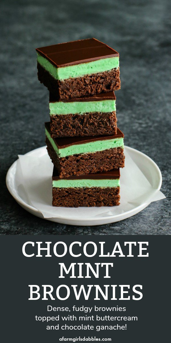 Chocolate Mint Brownies from afarmgirlsdabbles.com - I've been enjoying my mom's mint brownies since I was a kid. Rich and fudgy and decadent, and so pretty in their layers, they're the perfect after-meal sweet treat! #brownies #brownie #mint #frosting #layered #chocolate #green