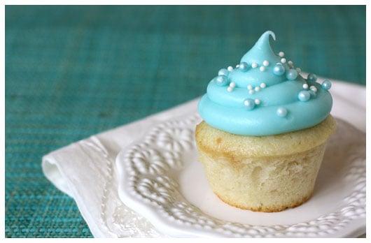 a mini cupcake on a white plate