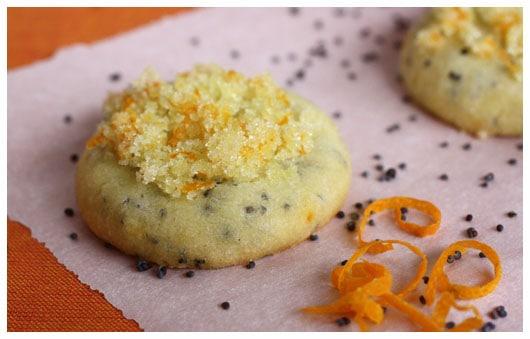 mini orange cookies topped with sugar
