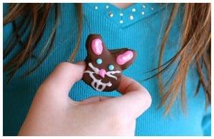 a girl holding a marshmallow bunny