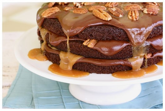 caramel, chocolate, and pecan cake