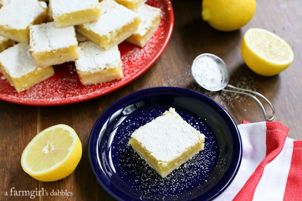 Lemon Bars from afarmgirlsdabbles.com