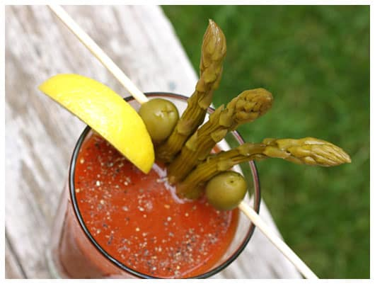 Pickled Peppered Asparagus in a Bloody Mary from afarmgirlsdabbles.com