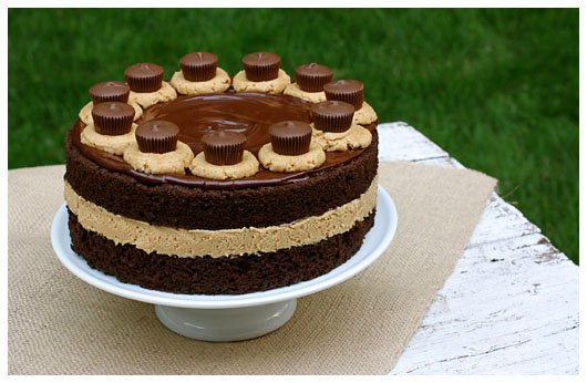 a chocolate layer cake with peanut butter frosting