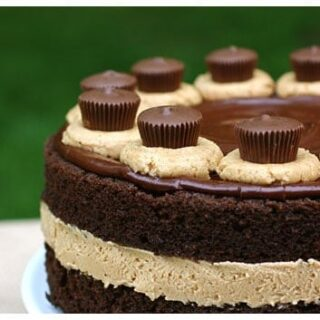 Chocolate cake with peanut butter filling topped with chocolate ganache and peanut butter cups