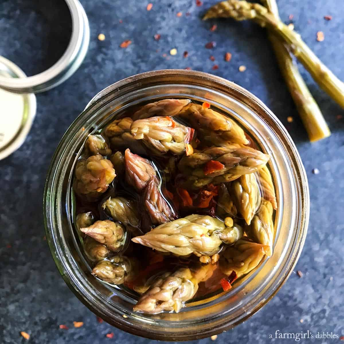 Pickled Peppered Asparagus from afarmgirlsdabbles.com
