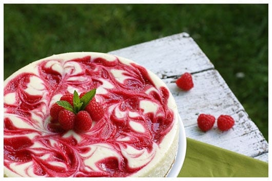 raspberry cheesecake on a table outside
