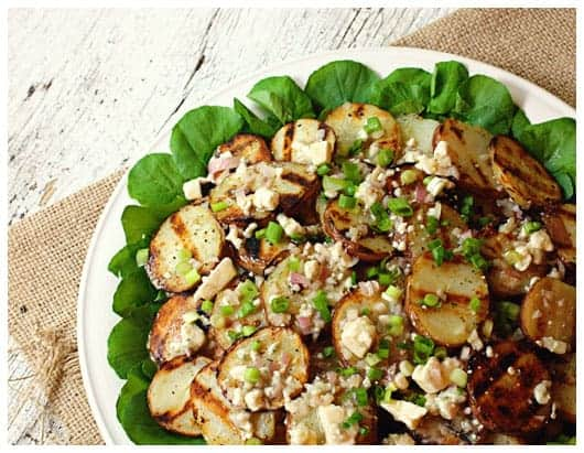 Grilled Potato Salad with Blue Cheese Vinaigrette • a farmgirl's ...