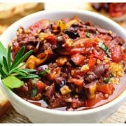 a bowl of roasted tomato tapenade
