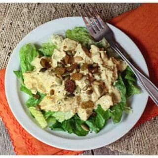 curry chicken salad on lettuce