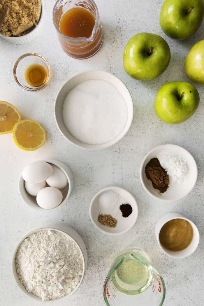 Ingredients for an apple bundt cake with vanilla glaze