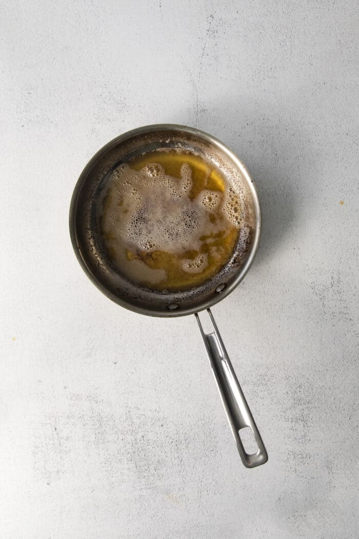 Browned butter in a pan