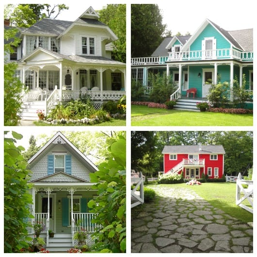 a collage of homes on mackinac island