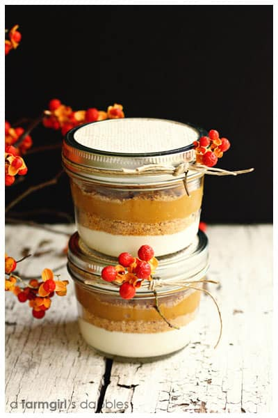 Layered Pumpkin Pie in a Jar - afarmgirlsdabbles.com #pumpkin