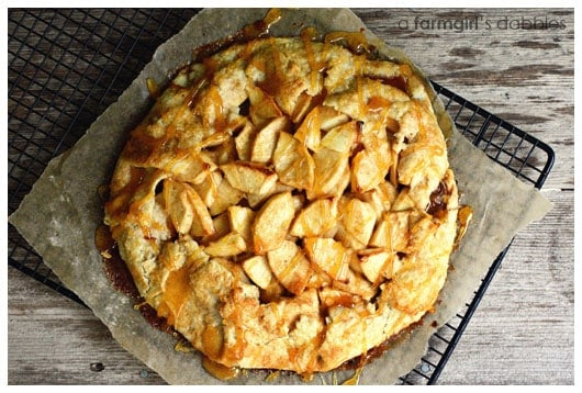 An Apple Galette on a Black Cooling Rack