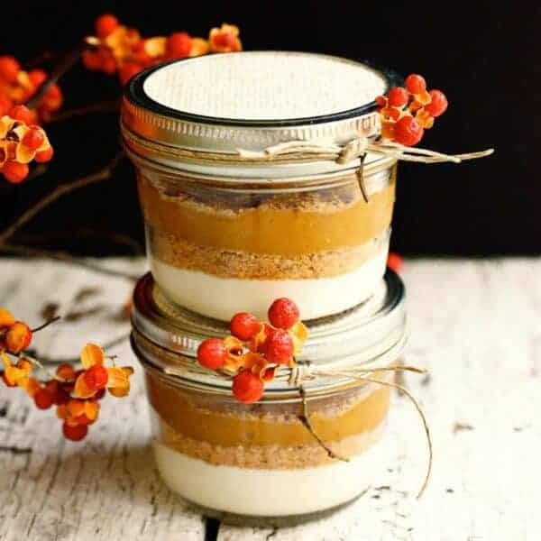 two jars of layered pumpkin pie
