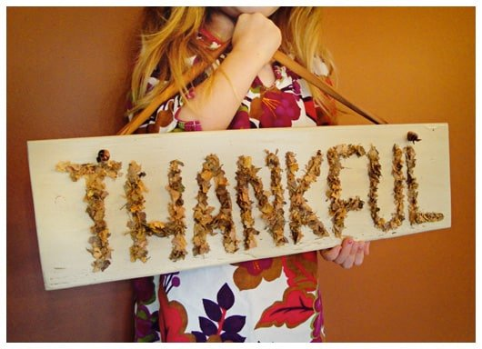 "homemade ""thankful"" sign"