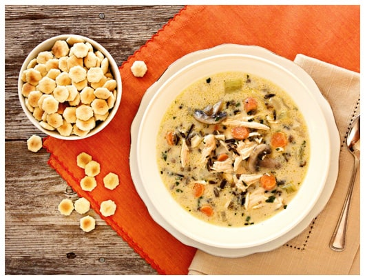Creamy Turkey {or chicken!} Wild Rice Soup - afarmgirlsdabbles.com #soup #wildrice #turkey #chicken