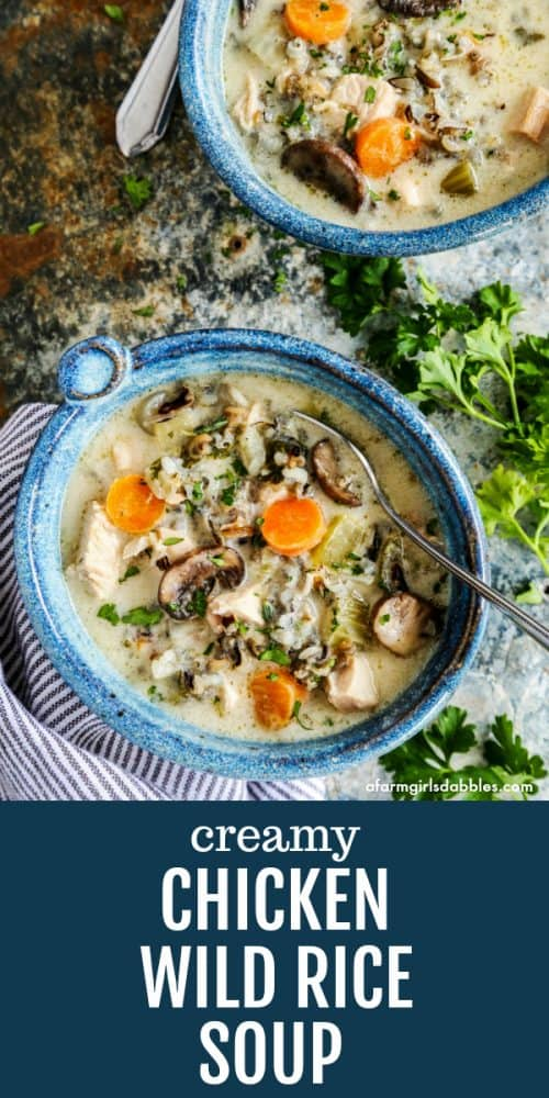 pinterest image of Chicken Wild Rice Soup