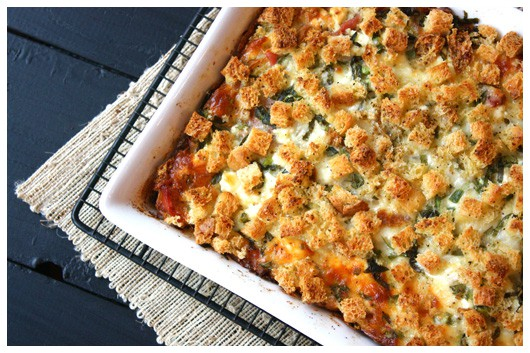prosciutto and goat cheese egg bake - www.afarmgirlsdabbles.com