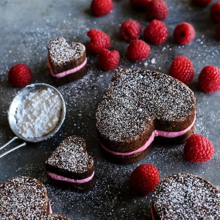 Heart Shaped Brownies with Fresh Raspberry Buttercream