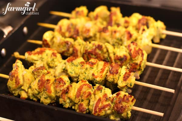 chicken kebabs on a grill pan