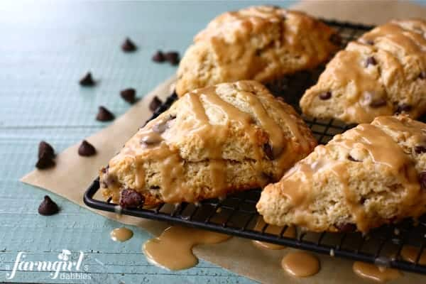 Chocolate Chip Scones With Peanut Butter Glaze A Farmgirls Dabbles