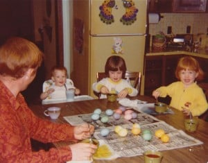 Kids coloring Easter eggs in 1977