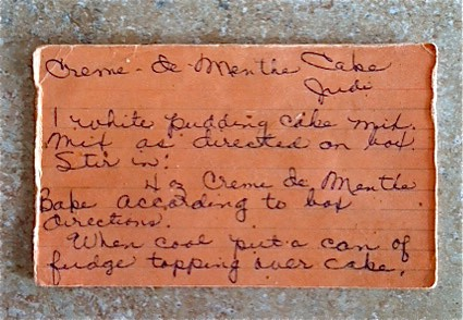 handwritten recipe card for creme de menthe cake
